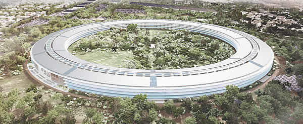 Aerial Rendering of New Apple Campus