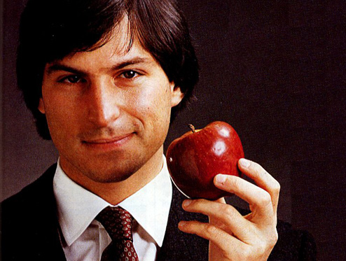 Steve Jobs holding a real apple